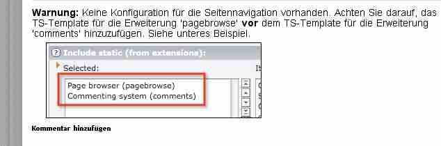 Comments Pagebrowse Fehlermeldung in Typo3 Kommentar Extension comments